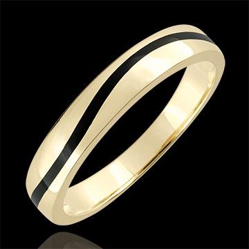 Obrączka męska Światłocień - Krzywa - złoto żółte 9-karatowe i czarna laka