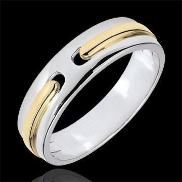 Obrączka Obietnica - czyste złoto - bardzo duży model - złoto białe i złoto żółte 18-karatowe