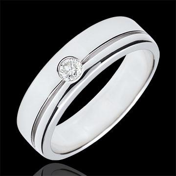 Obrączka Olimpia z diamentem - Duży model - złoto białe 9-karatowe
