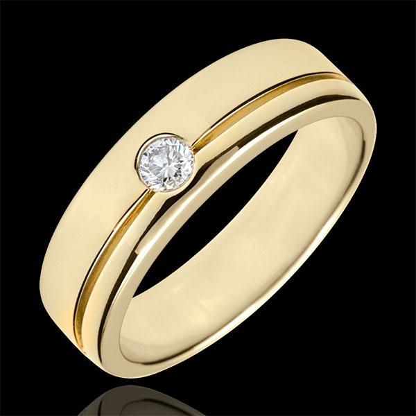 Obrączka Olimpia z diamentem - Duży model - złoto żółte 9-karatowe