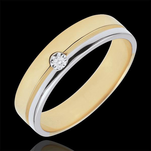 Obrączka Olimpia z diamentem - Średni model - dwukolorowa - złoto białe i złoto żółte 18-karatowe
