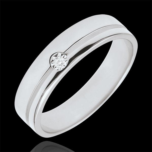 Obrączka Olimpia z diamentem - Średni model - złoto białe 18-karatowe