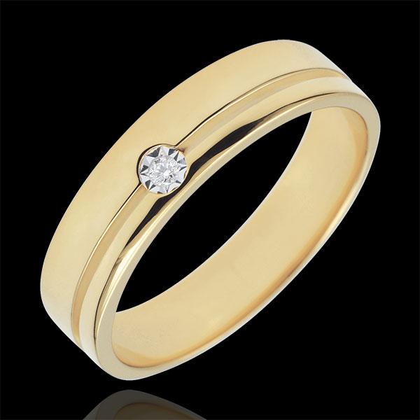 Obrączka Olimpia z diamentem - Średni model - złoto żółte 18-karatowe