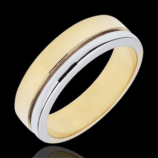Obrączka Olimpia - Duży model - dwukolorowa - złoto białe i złoto żółte 9-karatowe