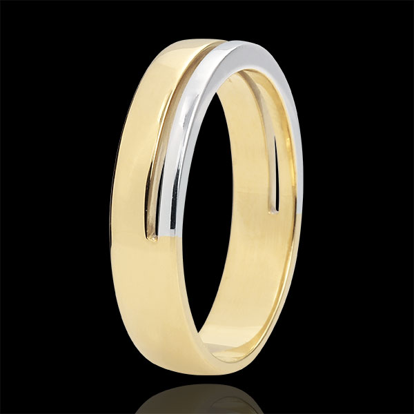 Obrączka Olimpia - Średni model - dwukolorowa - złoto białe i złoto żółte 18-karatowe