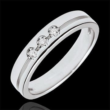 Obrączka Olimpia z trzema diamentami - Mały model - złoto białe 9-karatowe