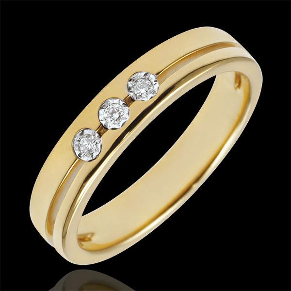 Obrączka Olimpia z trzema diamentami - Mały model - złoto żółte 18-karatowe