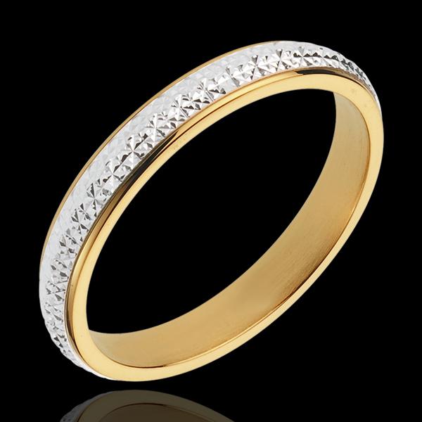 Obrączka Pandorane - złoto białe i złoto żółte 18-karatowe