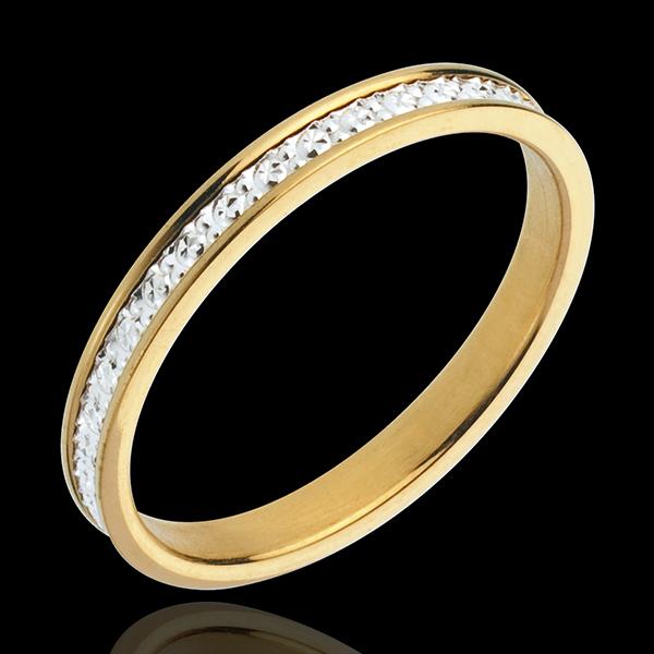 Obrączka Pandouria - złoto białe i złoto żółte 18-karatowe