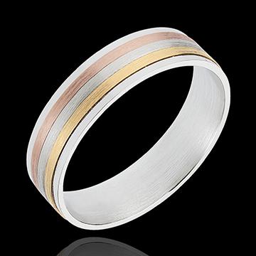 Obrączka Pasek z trzech rodzajów złota - trzy rodzaje złota 18-karatowego