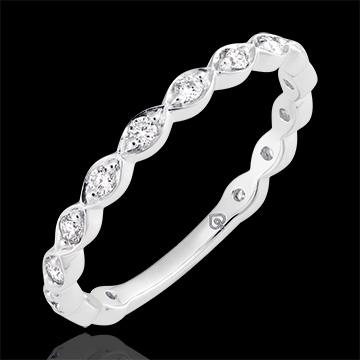 Obrączka Perły Rosy - białe złoto 18-karatowe wysadzane diamentami
