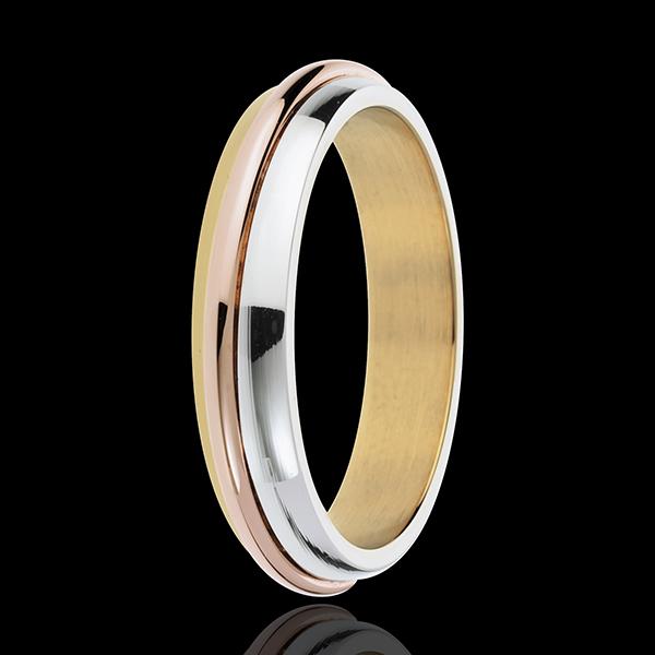 Obrączka Pierścienie Słoneczne - trzy rodzaje złota 18-karatowego