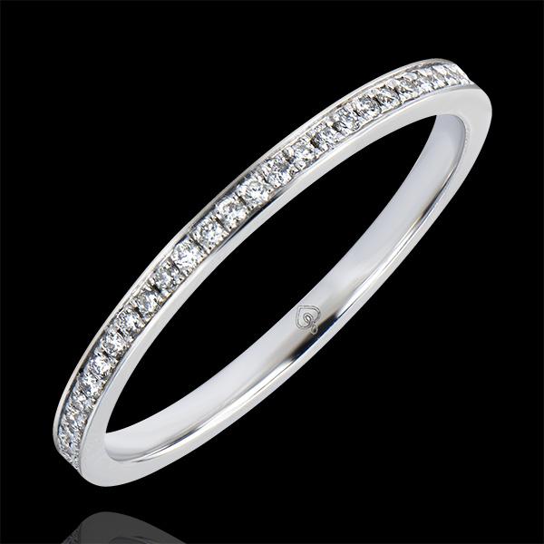 Obrączka Pochodzenie – Oprawa typu grain – białe złoto 9-karatowe i diamenty