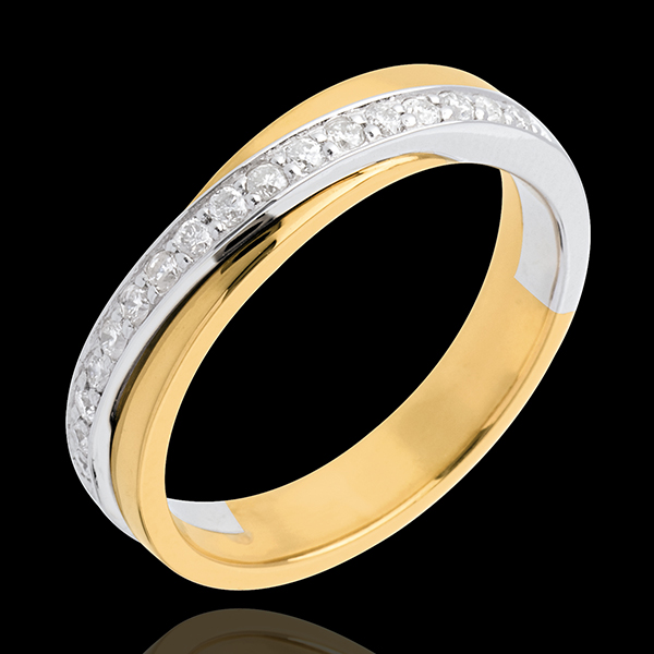 Obrączka - w połowie wysadzana diamentami - 17 diamentów - złoto białe i złoto żółte 18-karatowe