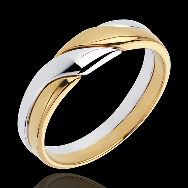Obrączka Przyciąganie - złoto białe i złoto żółte 18-karatowe