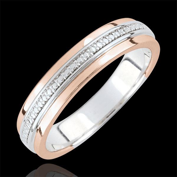 Obrączka Romantyczna - złoto białe i złoto różowe 9-karatowe