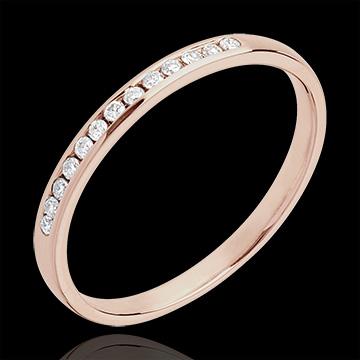 Obrączka z różowego złota 18-karatowego z diamentami