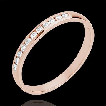 Obrączka z różowego złota 18-karatowego w połowie wysadzana diamentami - oprawa kanałowa - 11 diamentów
