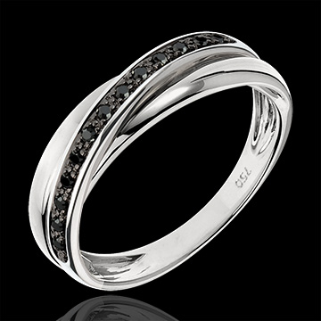 Obrączka Saturn z diamentem - 13 czarnych diamentów i białe złoto 9-karatowe