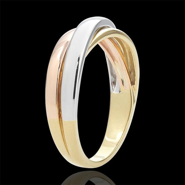 Obrączka Saturn z diamentem - czyste złoto - trzy rodzaje złota 9-karatowego
