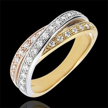 Obrączka Saturn z diamentem - trzy rodzaje złota - 29 diamentów - trzy rodzaje złota 18-karatowego