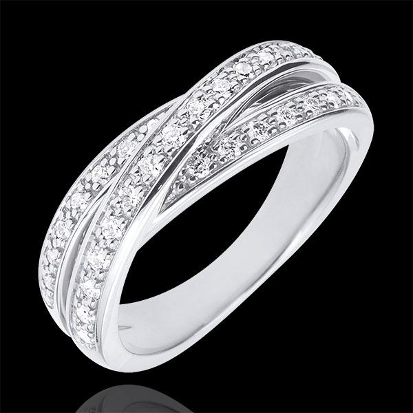 Obrączka Saturn z diamentem - złoto białe 18-karatowe - 29 diamentów