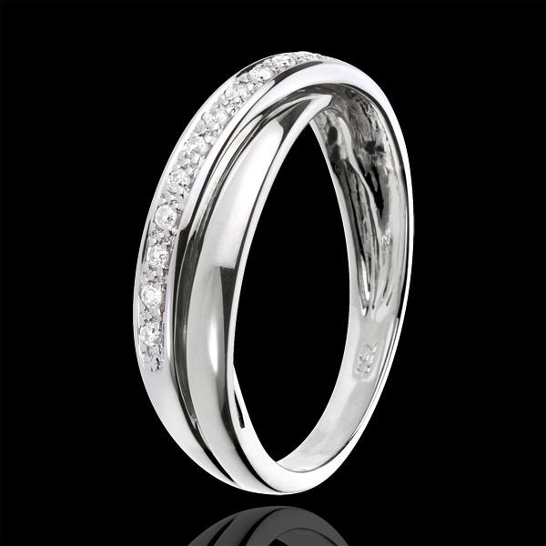 Obrączka Saturn z diamentem - złoto białe 18-karatowe