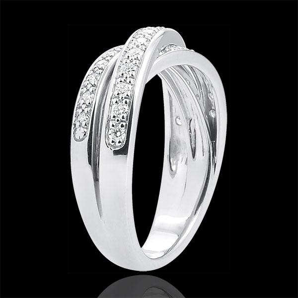 Obrączka Saturn z diamentem - złoto białe 9-karatowe - 29 diamentów