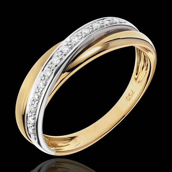Obrączka Saturn z diamentem - złoto białe i złoto żółte 9-karatowe
