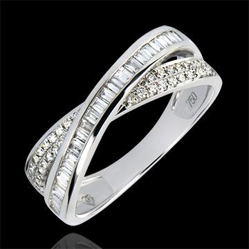 Obrączka Saturn – Diamentowy Duet – białe złoto 18-karatowe z diamentami