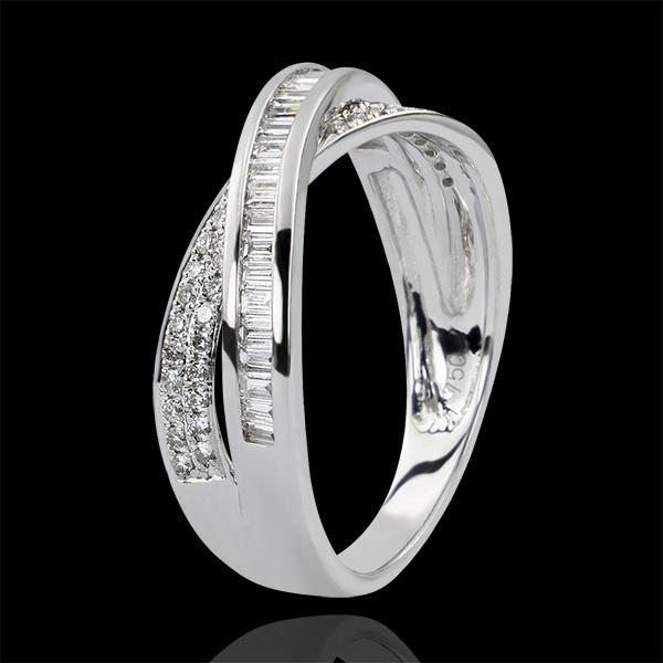 Obrączka Saturn – Diamentowy Duet – białe złoto 9-karatowe z diamentami