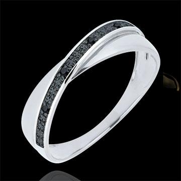 Obrączka Saturn Duo - diamenty - czarne diamenty - złoto białe 18-karatowe