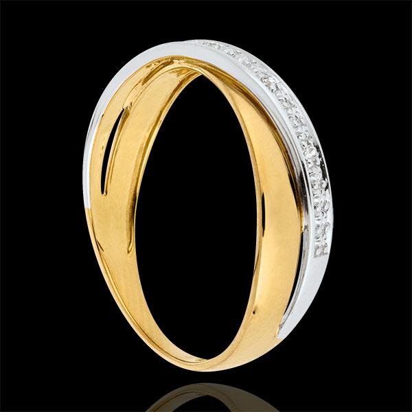 Obrączka Saturn Duo - diamenty - złoto białe i złoto żółte 18-karatowe