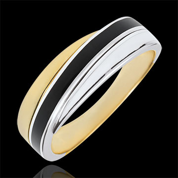 Obrączka Saturn - dwa rodzaje laki - złoto białe i złoto żółte 9-karatowe