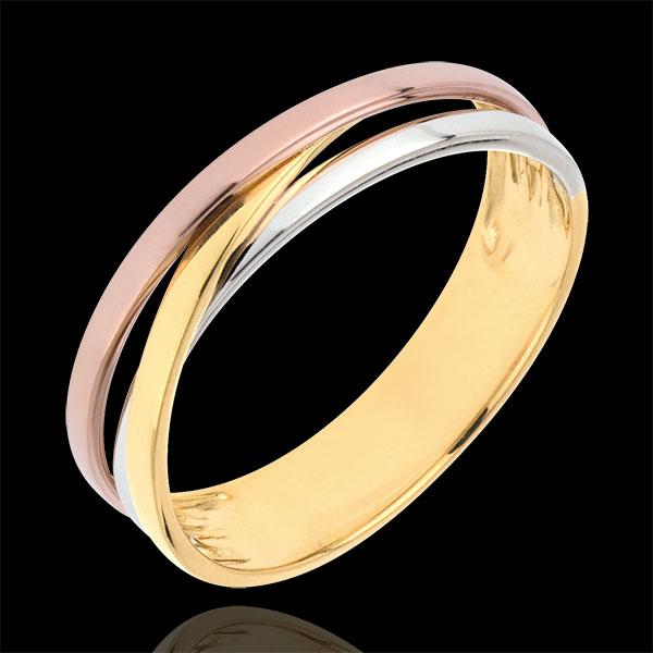 Obrączka Saturn z trzech rodzajów złota wariacja - trzy rodzaje złota - trzy rodzaje złota 9-karatowego