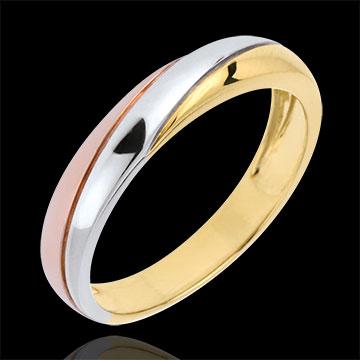 Obrączka Saturn z trzema diamentami - trzy rodzaje złota - trzy rodzaje złota 18-karatowego