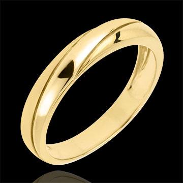 Obrączka Saturn z trzema diamentami - złoto żółte 18-karatowe