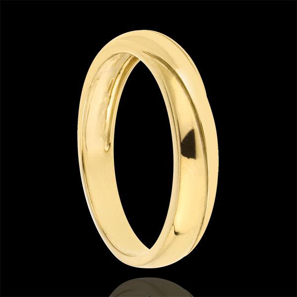 Obrączka Saturn z trzema diamentami - złoto żółte 9-karatowe