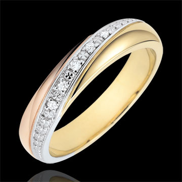 Obrączka Saturn - Trzy diamenty - trzy rodzaje złota i diamenty - trzy rodzaje złota 9-karatowego