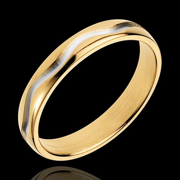 Obrączka Sinusoida - złoto białe i złoto żółte 18-karatowe