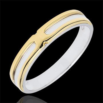 Obrączka Soltice - dwa rodzaje złota - złoto białe i złoto żółte 9-karatowe