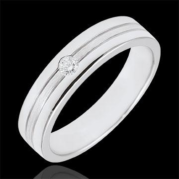 Obrączka Star z diamentem - Mały model - złoto białe szczotkowane 9-karatowe