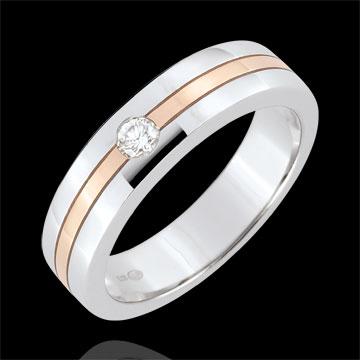 Obrączka Star z diamentem - Mały model - złoto białe i złoto różowe 9-karatowe