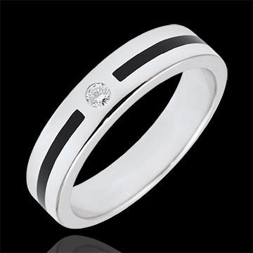 Obrączka Światłocień - Linia i diamenty - Mały model - czarna laka - złoto białe 9-karatowe