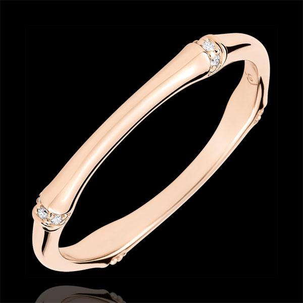 Obrączka Święta Dżungla - Diamenty 2 mm - złoto różowe 18-karatowe