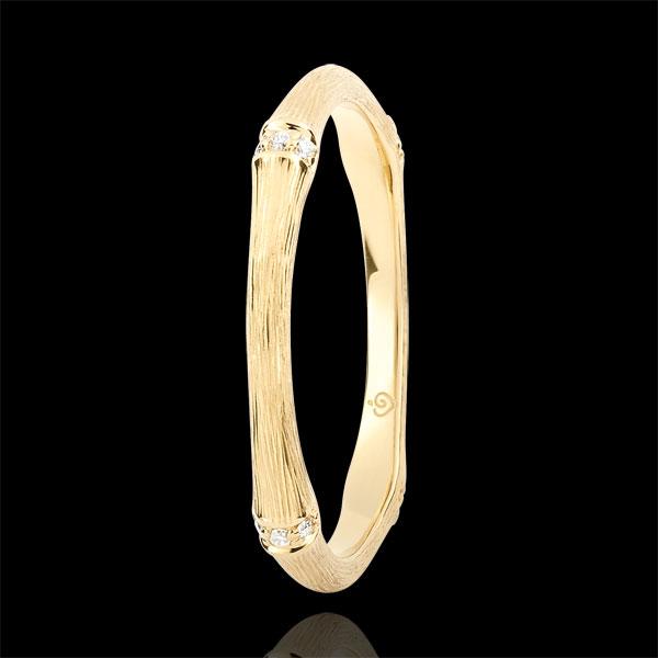 Obrączka Święta Dżungla - Diamenty 2 mm - złoto żółte szczotkowane 9-karatowe