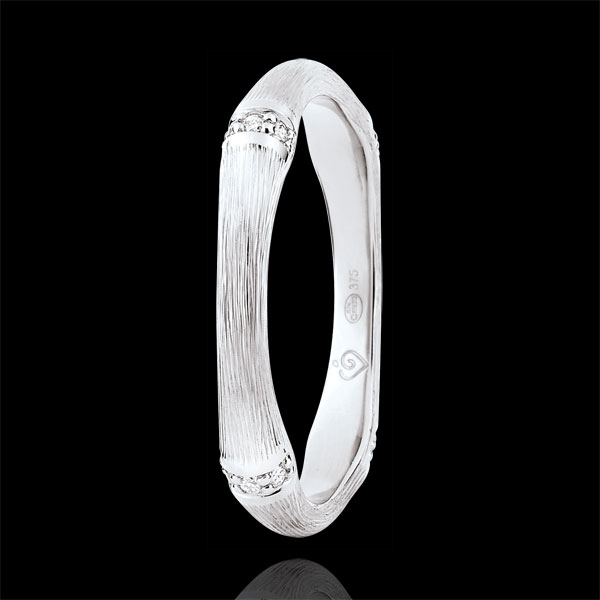Obrączka Święta Dżungla - Diamenty 3 mm - złoto białe szczotkowane 9-karatowe