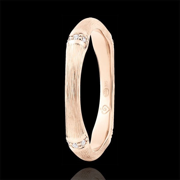 Obrączka Święta Dżungla - Diamenty 3 mm - złoto różowe szczotkowane 18-karatowe