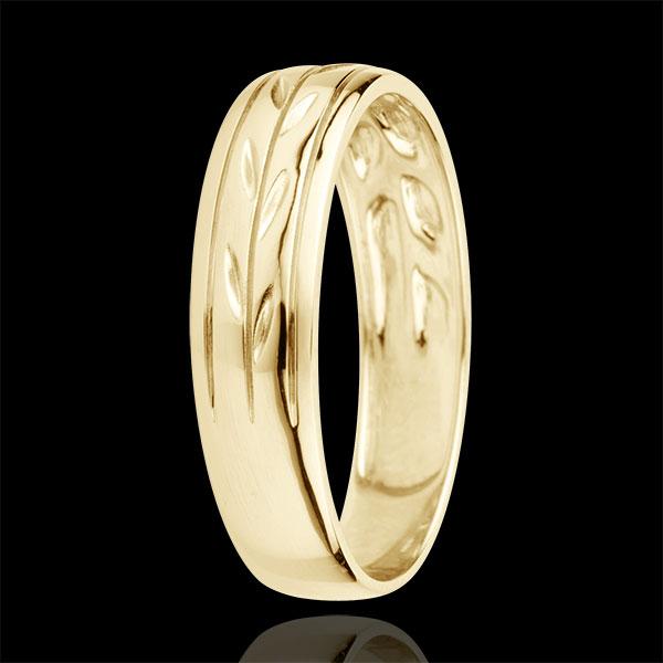 Obrączka Świeżość - Grawerowane Gałęzie wariacja złoto żółte 18-karatowe