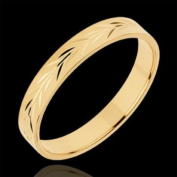 Obrączka Świeżość - Grawerowane gałęzie - złoto żółte 18-karatowe
